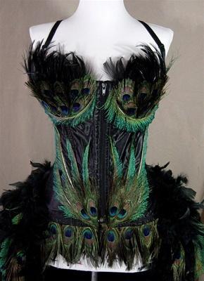 Peacock Eye Feather Moulin Burlesque Costume - Closeup of Corset