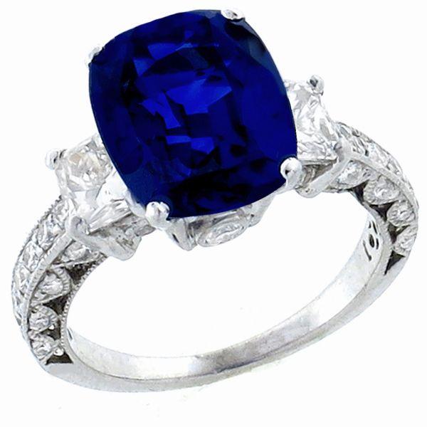 Vintage 3.99 Cushion Cut Ceylon Sapphire 1.10ct Radiant and Round Cut Diamond Platinum Ring - See more at: http://www.newyorkestatejewelry.com/rings/estate--3.99-sapphire-1.10ct--diamond-ring-/23964/1/item#sthash.4pfTeOc8.dpuf