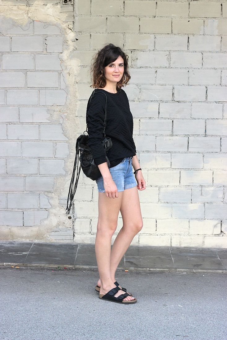 Textured neoprene sweatshirt and DIY shorts, Birkenstock and Balenciaga bag