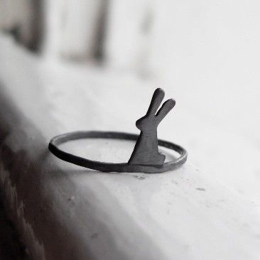 Little Bunny Ring (oxidized) Made to Order. £20.00, via Etsy.  - so simple, and so cute.