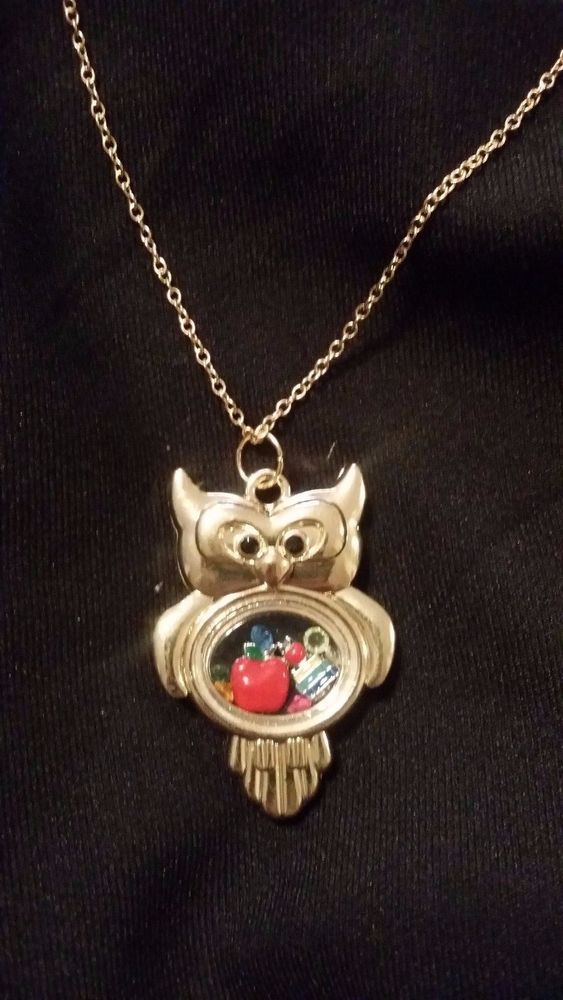 Teacher Themed Living Memory Locket Floating Charm Golden Owl Necklace #Unbranded #Chain