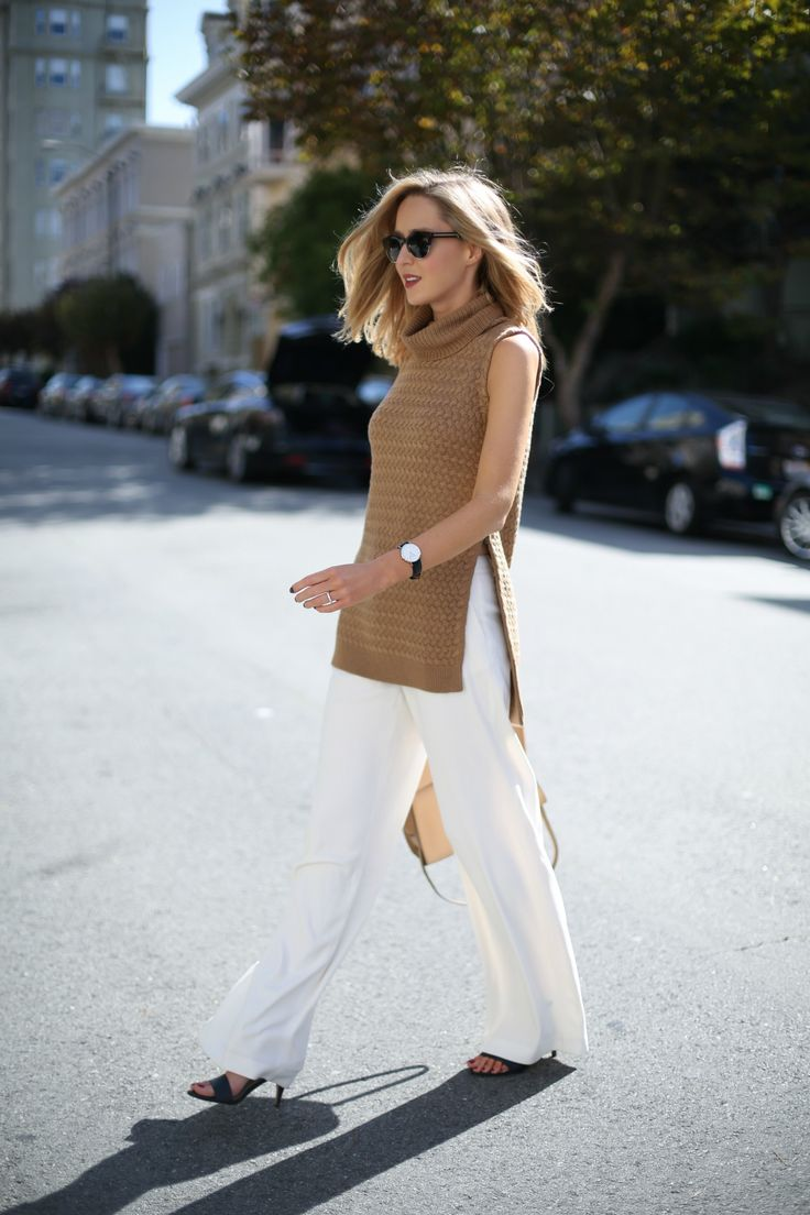 f camel cableknit turtleneck sleeveless tunic sweater chunky knit ivory wide leg pants work wear fashion style office business women attire blog memorandum
