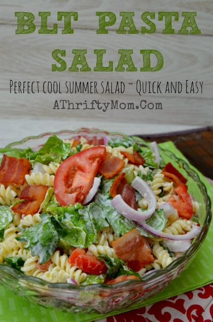 BLT Pasta Salad Recipe, Quick and easy perfect meal for a hot summer day #pasta #BLT #Summer Recipe #salad: Pasta Salad Recipes, Summer Salad Recipes, Recipes Salad, Summer Recipes