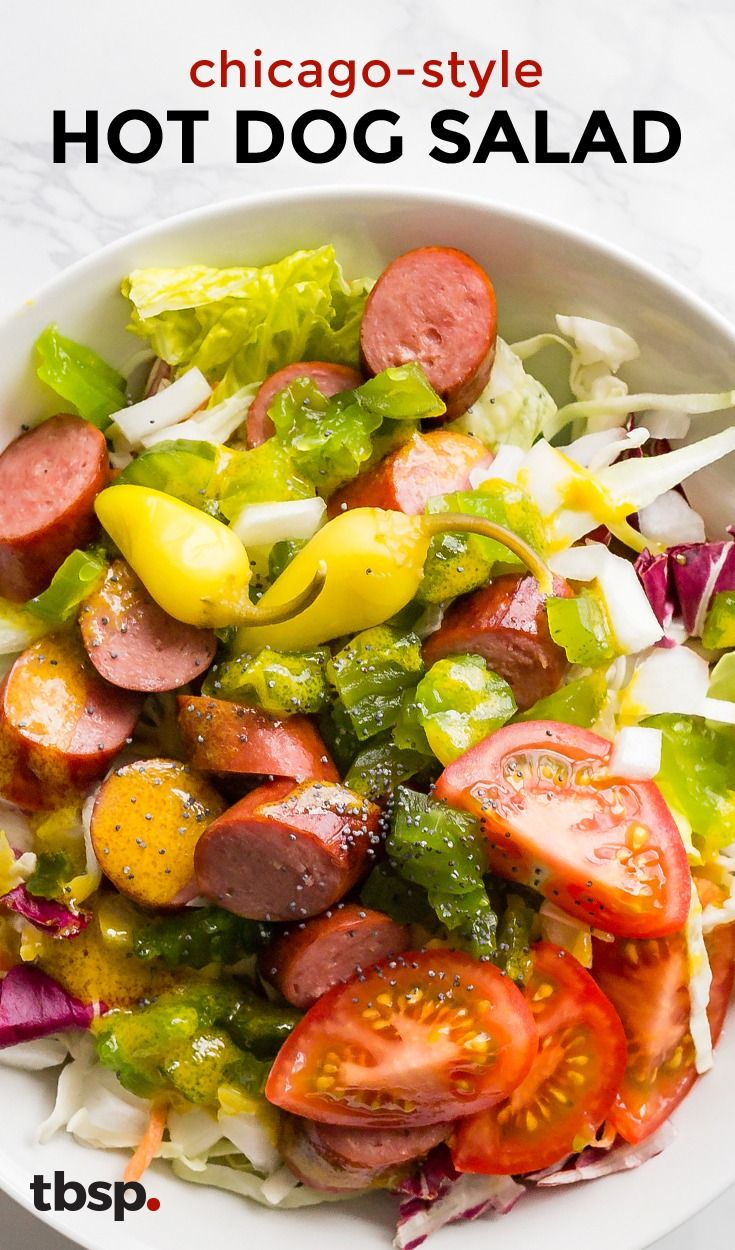 The infamous loaded hot dog just got a fresh makeover. Tossed with honey-mustard dressing in a bowl with all of the toppings (pickles, banana peppers, onion, and tomatoes) you won't believe how good your beloved Chicago dog is sans bun.