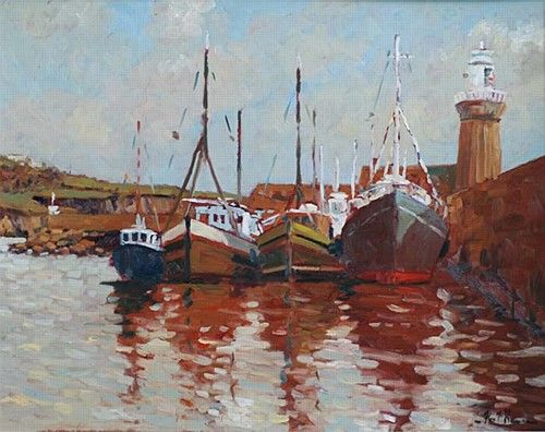 "Alex McKenna, ""Southern Harbour"" #boats #water #harbout #painting #harbour #DukeStreetGallery"