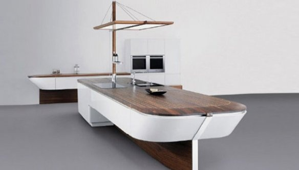 Sailboat shaped kitchen island
