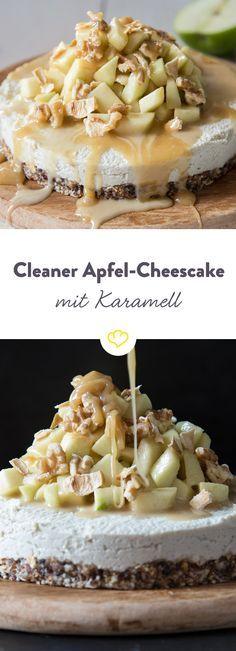 So gut. So vegan. Und so clean. Den Cheesecake machst du aus Cashewkernen, das Karamell aus Mandelmus. Und für das besondere Etwas - ein paar Äpfel.