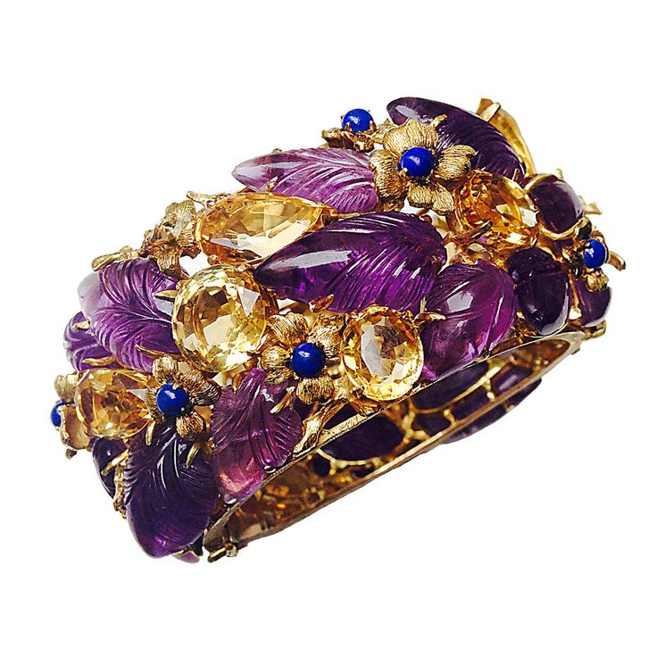 Buccellati Citrine Amethyst Lapis Gold Bracelet | From a unique collection of vintage bangles at https://www.1stdibs.com/jewelry/bracelets/bangles/