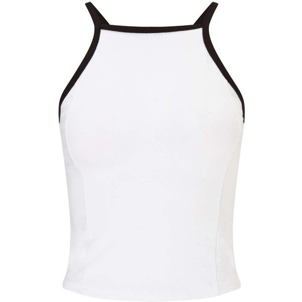 Miss Selfridge White Tipped 90's Crop Top ($14) ❤ liked on Polyvore featuring tops, white, white jersey, jersey crop top, cotton jersey, cotton crop top and white cotton tops