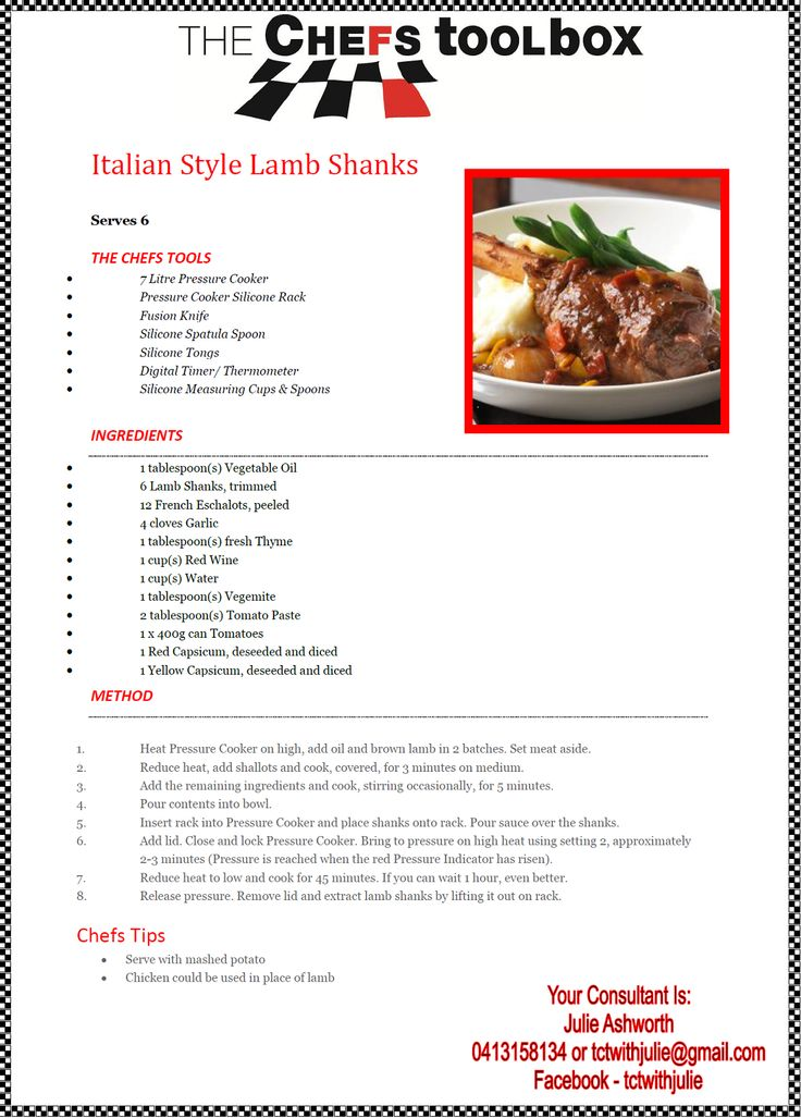 Italian Lamb Shanks - Pressure Cooker http://julieashworth.onlinekitchenware.net.au/