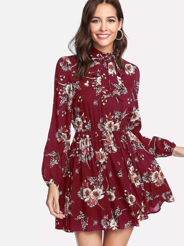 7df185fe53 Tie Neck Flower Print Dress -SHEIN(SHEINSIDE)   II DRESSES <3 II in ...