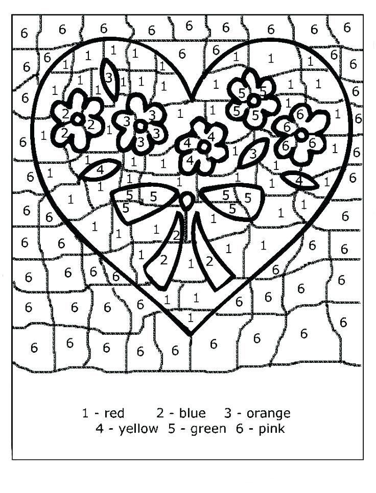 Valentines Color By Number Valentine Coloring Pages Printable