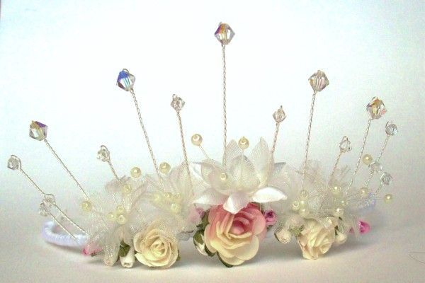 Handmade floral tiara with Swarovski Crystals for Brides Bridesmaids
