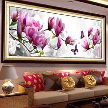 Size183x67cm 5D круглый бриллиант живопись вышивки крестом бабочки магнолии цветы DIY комплекты рукоделия ручной кристалл вышивка(China (Mainland))