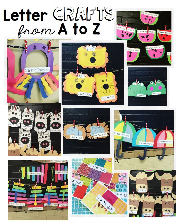 Alphabet crafts for letter's A to Z.  Alphabet letter of the week crafts and activities for Kindergarten.