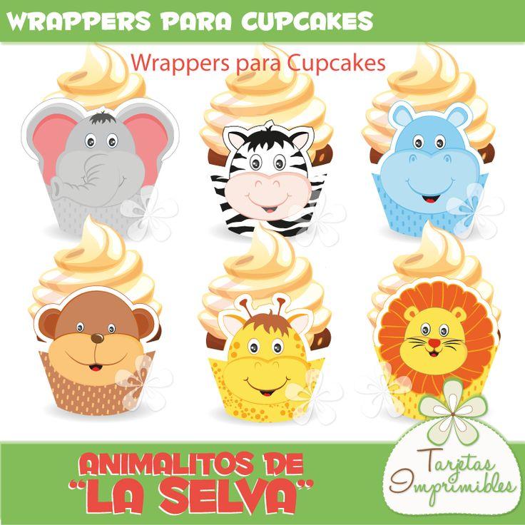Wrappers para cupcakes con animalitos para fiestas tematicas