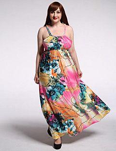 tatlı eğri kadın tatil / artı boyutu bohem elbise, çiçek kayış maksi kolsuz pembe polyester / spandex yaz