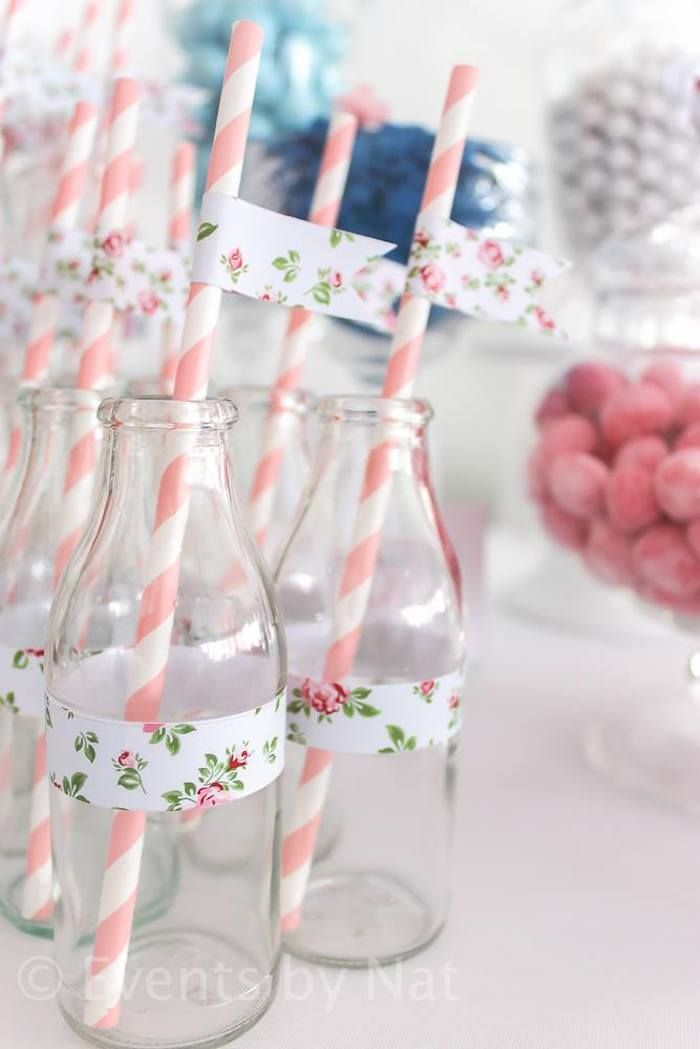 Drinking glasses at a Shabby Chic First Birthday Party with Lots of REALLY CUTE IDEAS via Kara's Party Ideas Kara Allen KarasPartyIdeas.com #shabbychic #girlparty