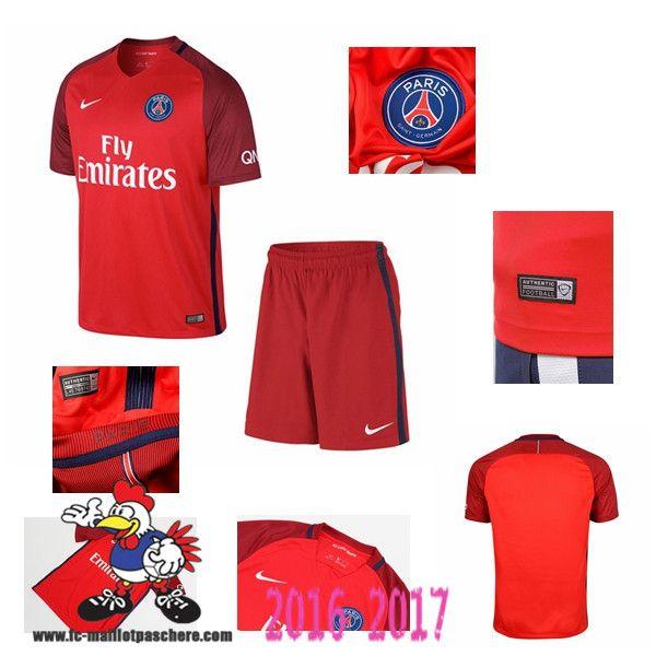 Promo Maillot Du Paris Saint-Germain Rouge Enfant Exterieur 2016/2017 Thailande