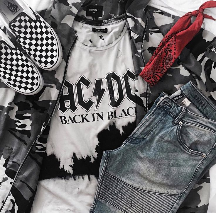 Streetstyle outfit toss. AC/DC band tee with a white camo jacket, checkerboard vans, red bandana and light blue jeans. Visit the link for more on my outfits