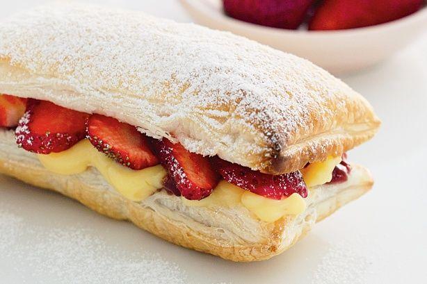 Strawberry and custard slice