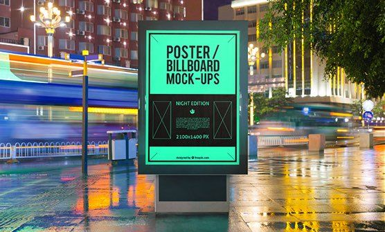 Rendered, but photo-realistic, scene showing two outdoor billboards. One smart object changes both displays. PSD with the dimensions: 2667 x 3000 px at 300 dpi.
