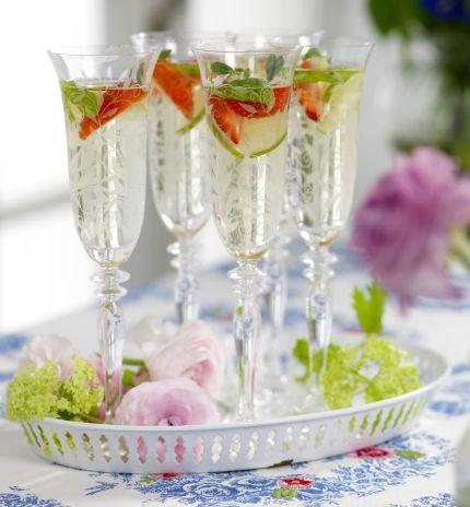Bevanda rinfrescante fiori di sambucoMescolare 1 tazza di succo di sambuco concentrato, 75cl di vino bianco secco e 1 fette di lime in una grande brocca. Lasciate riposare in frigorifero. Al momento di servire, aggiungere circa 4 tazze limonata limonata elettrica. Aggiungere un paio di cubetti di ghiaccio nel bicchiere e versare il composto bevanda. Guarnire con fragole e foglie di menta.