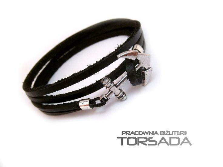 Bransoletka męska z kotwicą ręcznego wykonania z rzemienia. Leather bracelet for men with anchor. torsadakontakt@gmail.com