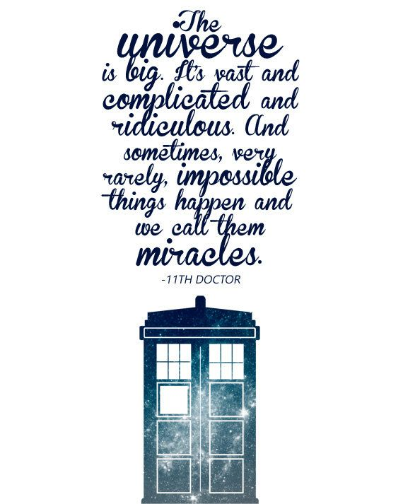 Doctor Who - Miracles - 11th Doctor quote - Typographic Print - Tardis Space Galaxy