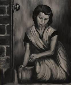 Housewife, oil on canvas by Justyna Molendowska-Ruiz