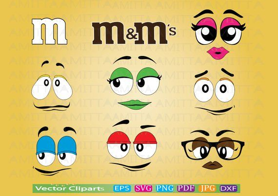 Set Of M And M Faces SVG Cut File-m And M Candy Face SVG