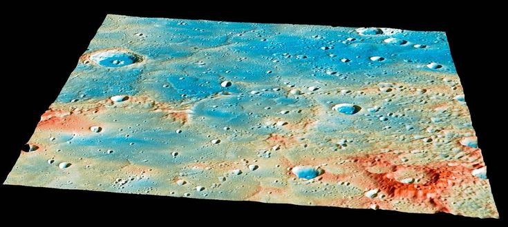 Topography color coded image of section of Mercury's surface. On April 30th, this region of Mercury's surface will have a new crater! Traveling at 3.91 kilometers per second (over 8,700 miles per hour), the MESSENGER spacecraft will collide with Mercury's surface, creating a crater estimated to be 16 meters (52 feet) in diameter.