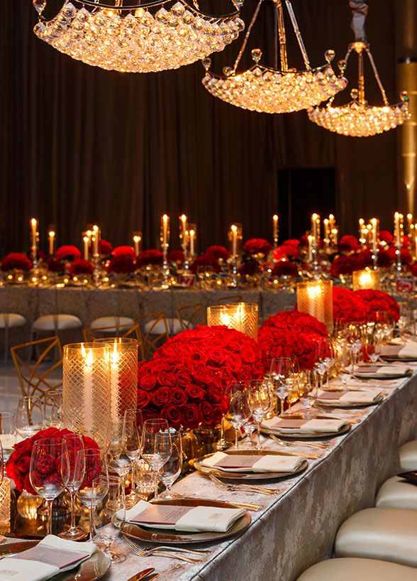 tables sets sparkle red colin cowie dinner celebrities red rose