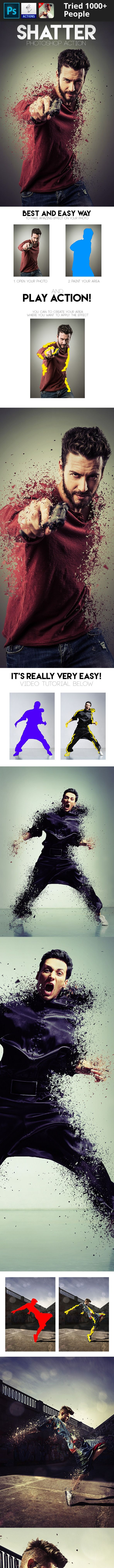3d, abstract, action, atn, break, broken, disperse, dispersion, distortion, explode, glass, particles, photo effect, photoshop, professional, psd, shatter, template       Shatter Photoshop Action – this ultra-realistic effects contains a many particles of different sizes and shapes. Shatter action uses unique method recreating of background for more realism. Do you want to shatter your object on the photo and get an amazing result? Do it with the Shatter Action in a few clicks!   Watch ...