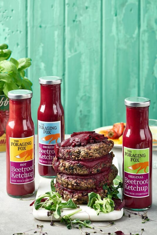 The Foraging Fox Beetroot Ketchups with Portobello Mushroom Burgers