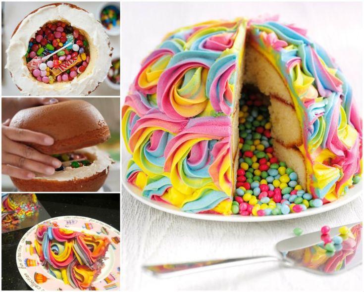 colorful and yummy rainbow pinata-cake Tutorial #diy #food #cake