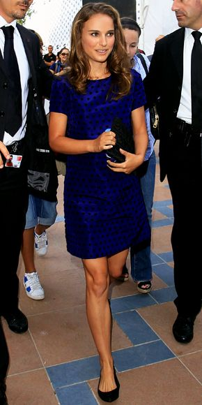 Natalie Portman wearing a French knot embroidered Jason Wu shift with a clutch and heels from Christian Dior.