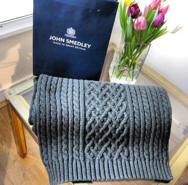 Our beautiful Channing- the cashmere blend shawl in a cable knit stitch #JohnSmedley #ShareYourStyle