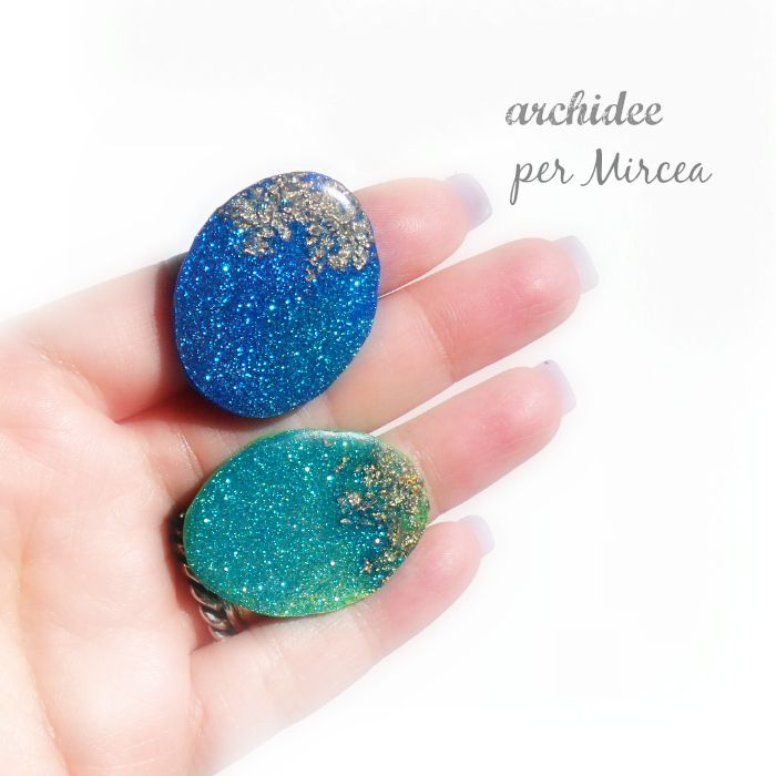 tutorial how to make full glittered cabochon very sparkle with polymer clay fimo liquid and golden leaf