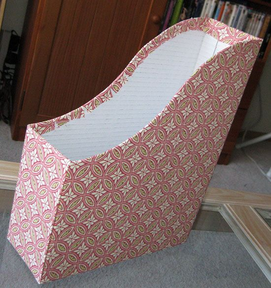 diy fabric-covered magazine file - OK use big Honey Nut Cheerios box.. use to store more small paperback cookbooks in less space...