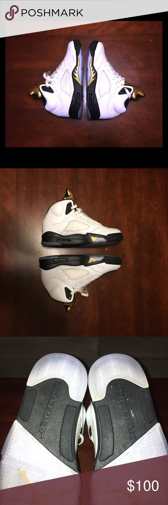 NIKE Air Jordan Olympic Gold 5's Size 7.5 Y EUC shoes with no OG box. Comes with the shoes, original insoles, laces & lace locks. Worn 2-3x, super clean! With little to no creasing. (See pics)  ⭐️ SIZE ⭐️ 7.5 Youth = 7.5 Men = 9 Women Nike Shoes Sneakers