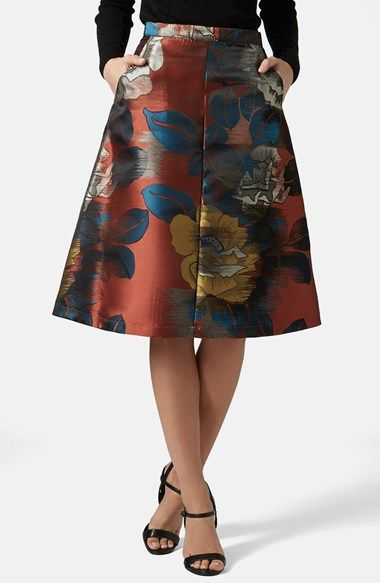 Topshop Floral A-Line Midi Skirt available at #Nordstrom