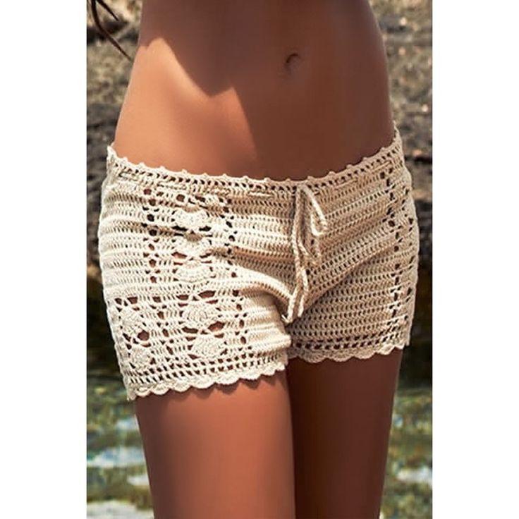 Coastal Crochet Shorts  Style: Beach WearColour: Neutral SKU: 128166501Measurements: One Size Fits Most (8-14) Hips 92-102cm