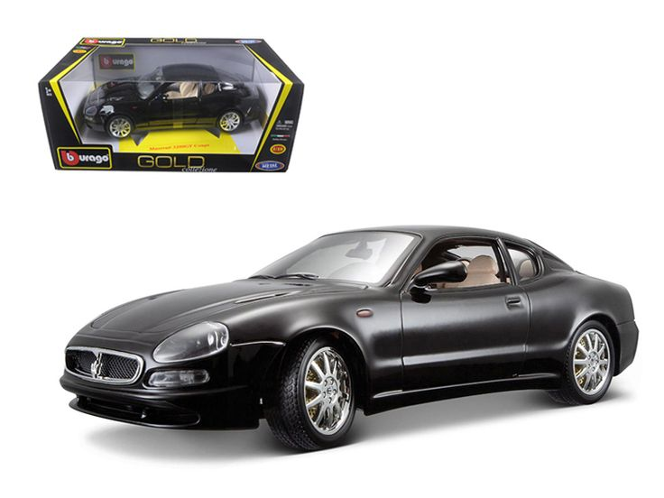 Maserati 3200 GT Coupe Black 1/18 Diecast Model Car by Bburago - Brand new 1:18 scale diecast Maserati 3200 GT Coupe by Bburago. Has steerable wheels. Brand new box. Rubber tires. Has opening hood, doors and trunk. Made of diecast with some plastic parts. Detailed interior, exterior, engine compartment. Dimensions approximately L-10, W-4, H-3.5 inches. Please note that manufacturer may change packing box at anytime. Product will stay exactly the same.-Weight: 4. Height: 8. Width: 15. Box…