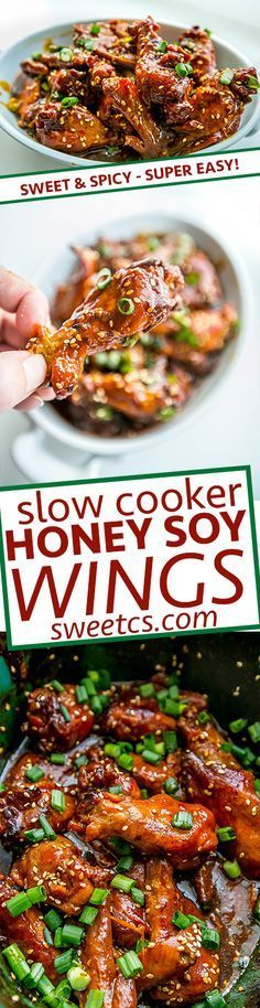 Slow Cooker Honey Soy wings- the best crockpot chicken wing recipe! Sweet, spicy and super easy!