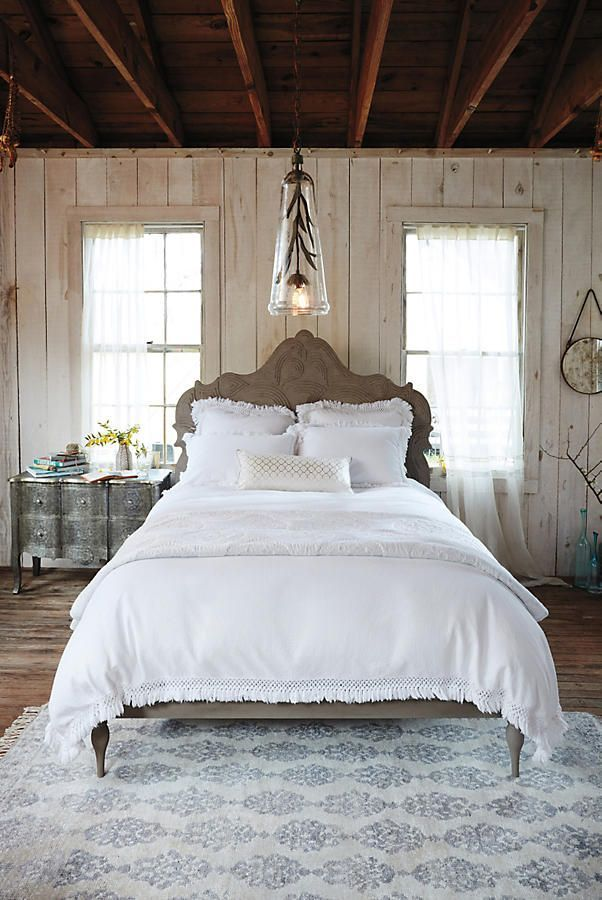 Love this beautiful romantic bedroom setup and decor. Cute bedding and comforter. Would look beautiful in a farmhouse as well. Would love some rustic decor with it. #afflink