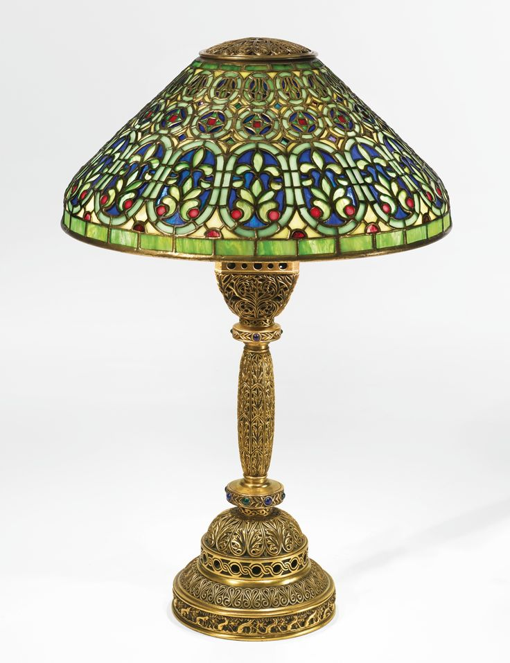 Tiffany studios venetian table lamp shade impressed tiffany studios ny 515 base impressed