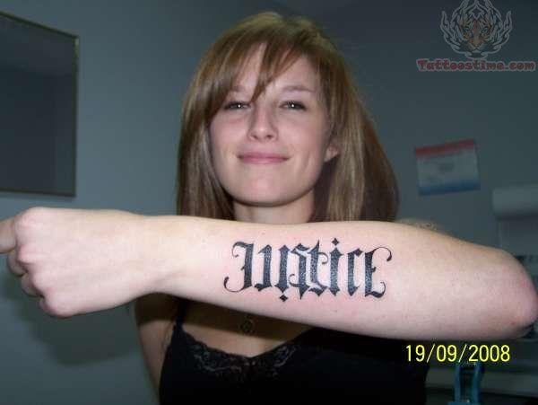 Ambigram Justice Tattoo