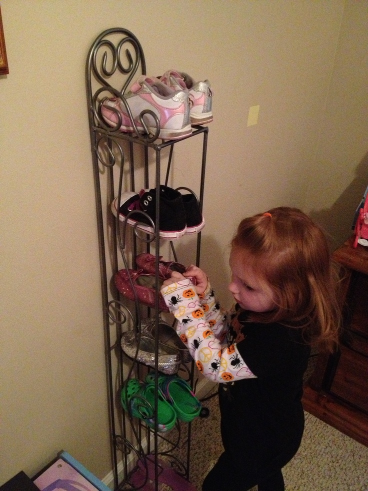 Old cd rack makes a great kids shoe rack