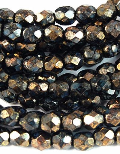Jet Bronze Picasso Czech Glass Faceted 4mm Beads -50